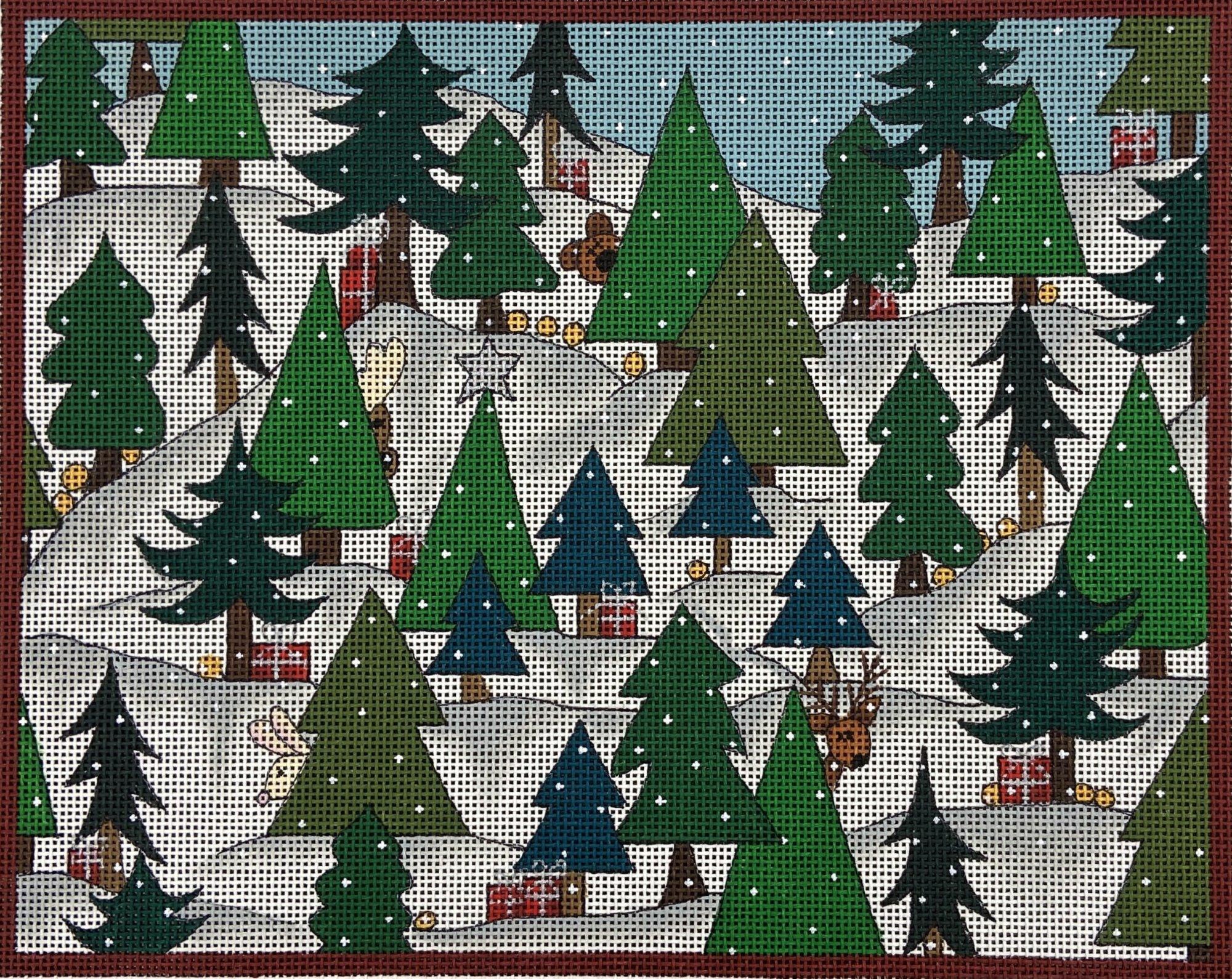 RN215 Winter Woodland Peek-a-boo with Christmas Trees Renaissance