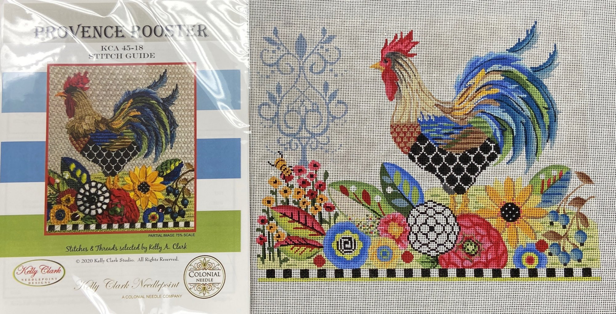 KCKCA45 Provence Rooster with Stitch Guide and Embellishments Colonial