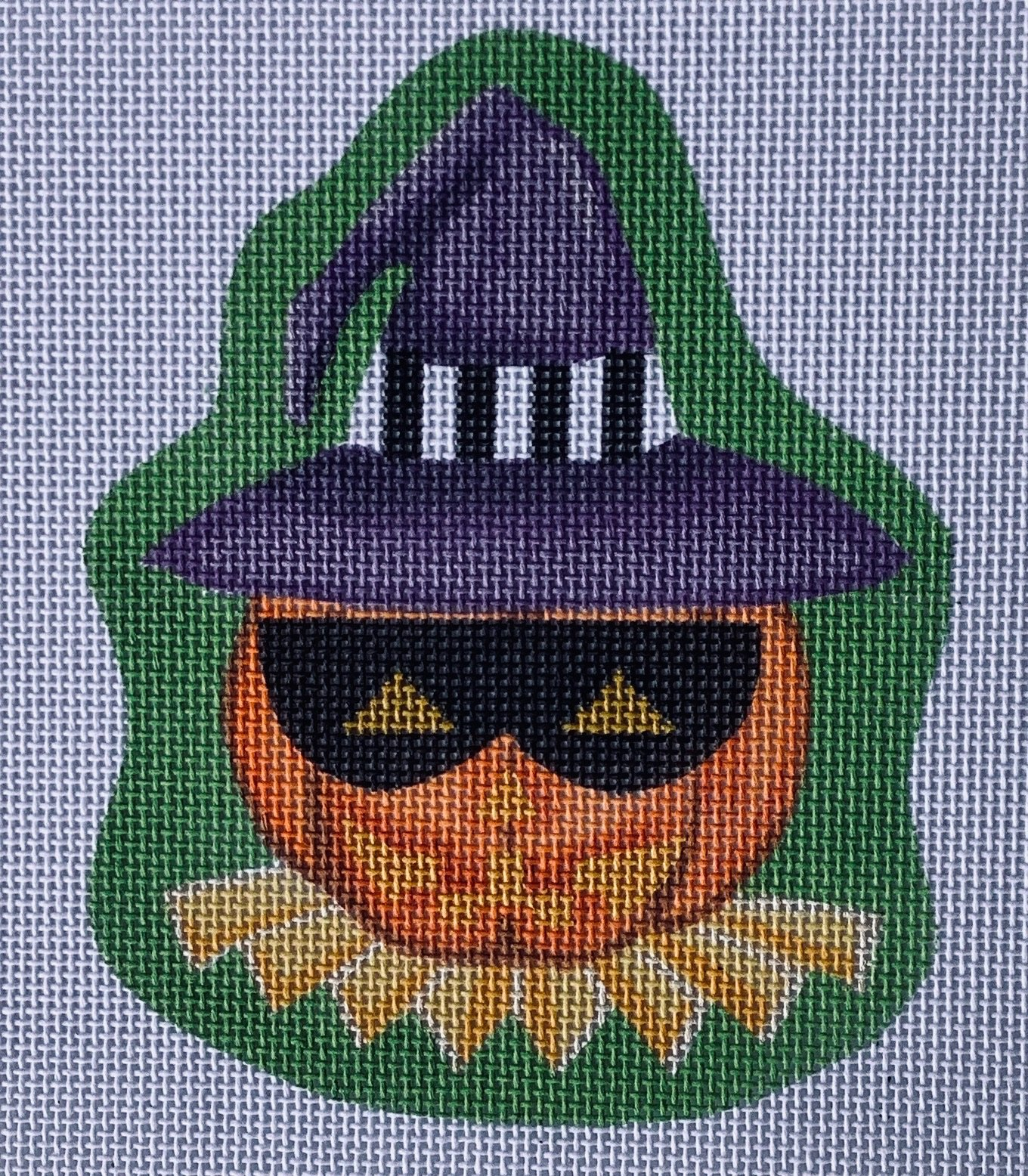 PDHWL01 Masked Jack O'Lantern with Stitch Guide Halloween Ornament Pepperberry Designs