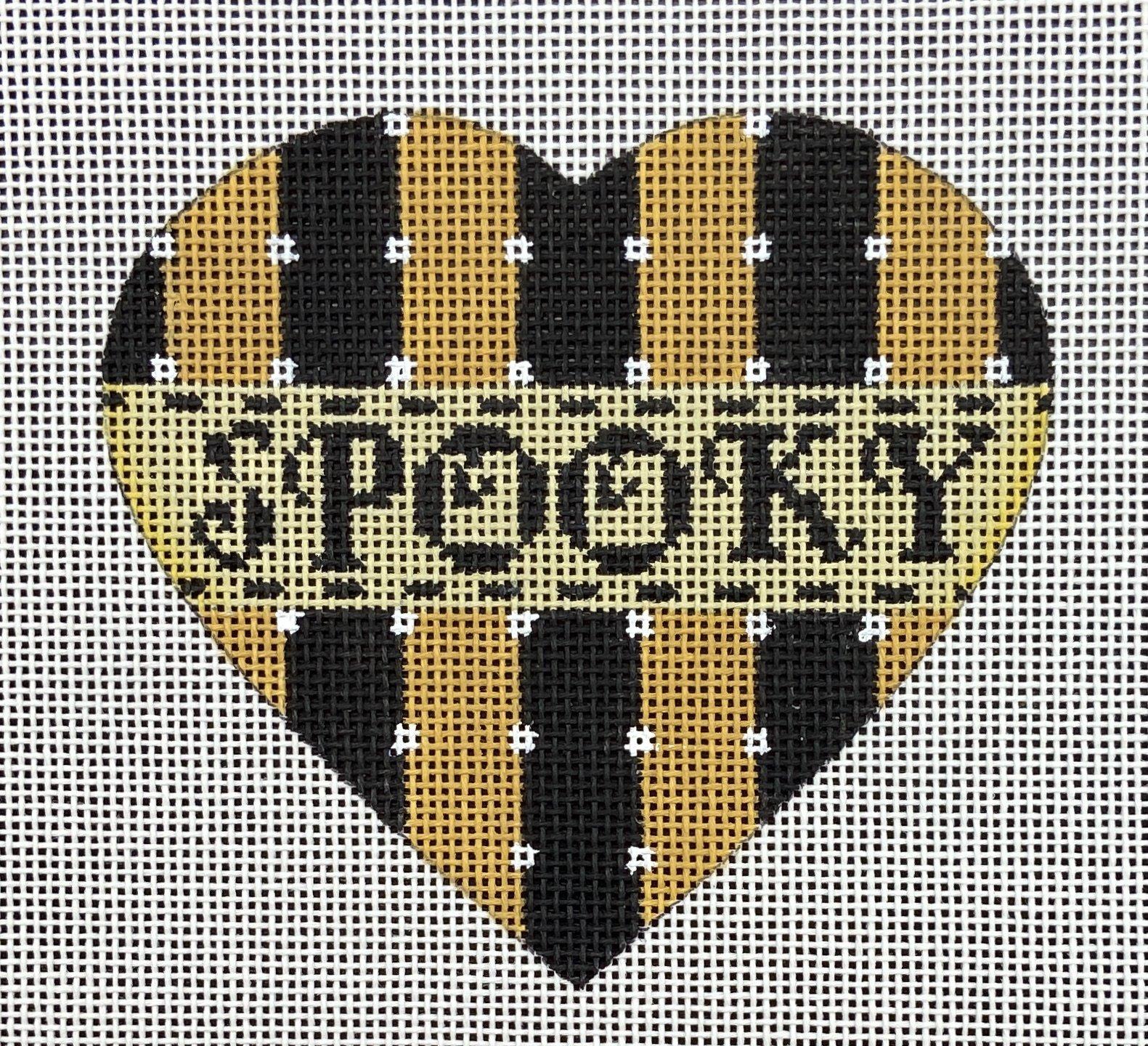 MS1942C SPOOKY Striped Halloween Heart Ornament