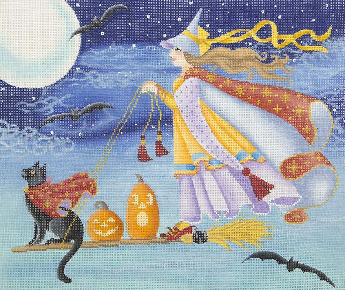 BS415 Witch and Cat Riding Broomstick Brenda Stofft
