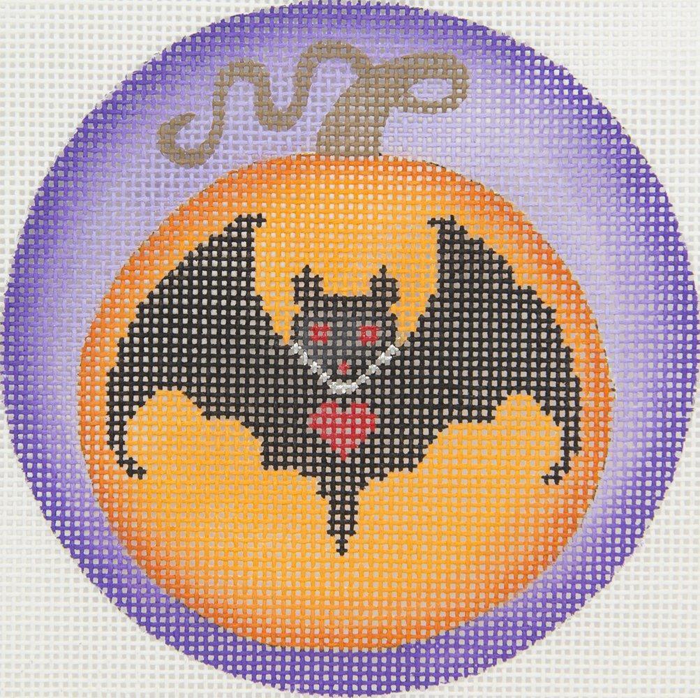 B424C Halloween Pumpkin with Bat Brenda Stofft