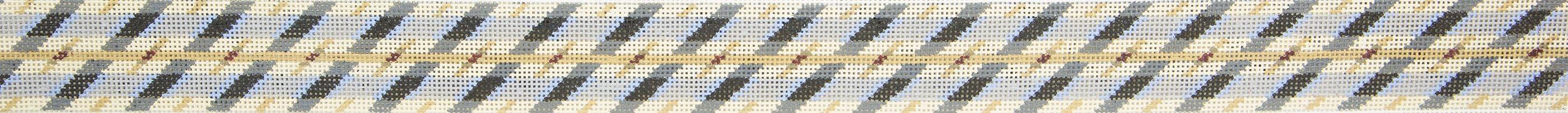 MBM48 Belt Blue Diagonal CBK Needlepoint