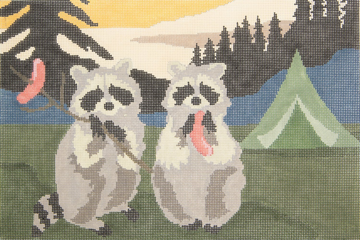 LREPL34 Raccoons and Hot Dogs CBK Needlepoint Collection
