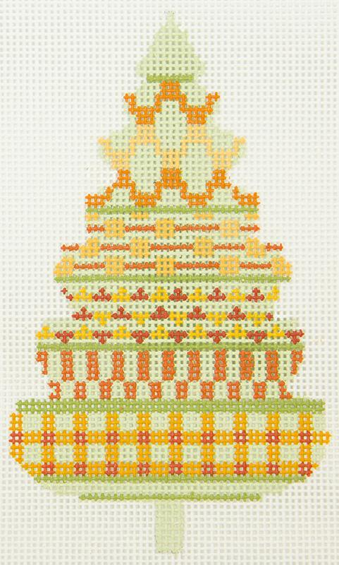 PATT307B Patchwork Green Orange Tree