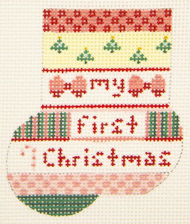 AB167a Baby Girl First Christmas Mini Sock Pink