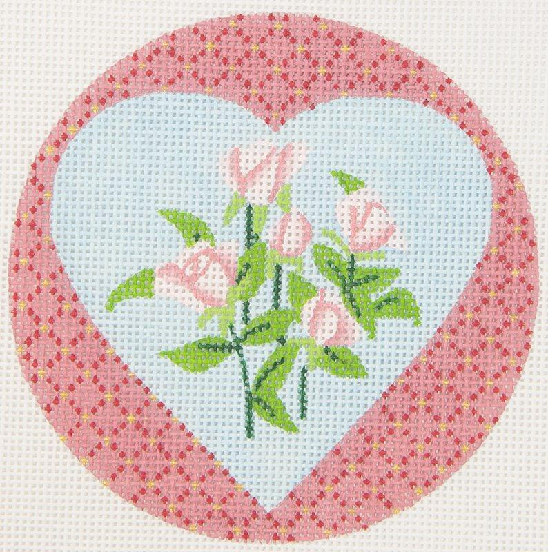 JPDN137A Heart with Roses JP Needlepoint