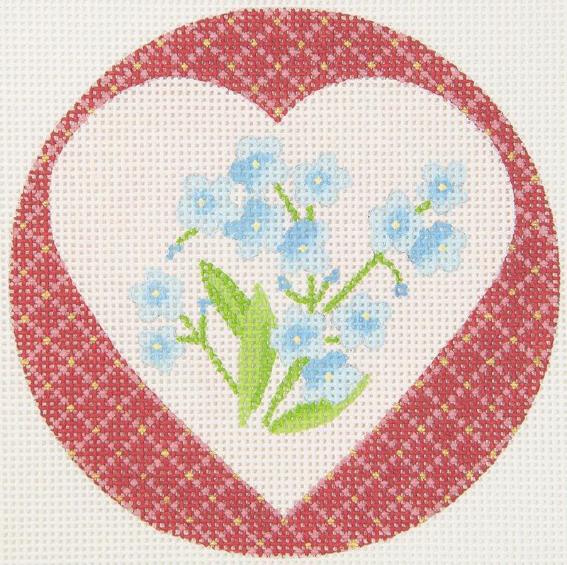 JPDN137D Heart with Blue Flowers JP Needlepoint