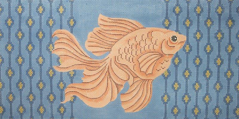 JPS16 Goldfish on Blue Swiming Right JP Needlepoint