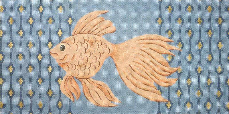 JPS17 Goldfish on Blue Swimming Left JP Needlepoint