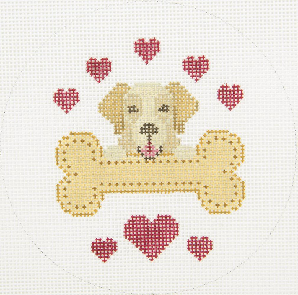 X347 Golden Rescue Dog Bone JP Needlepoint