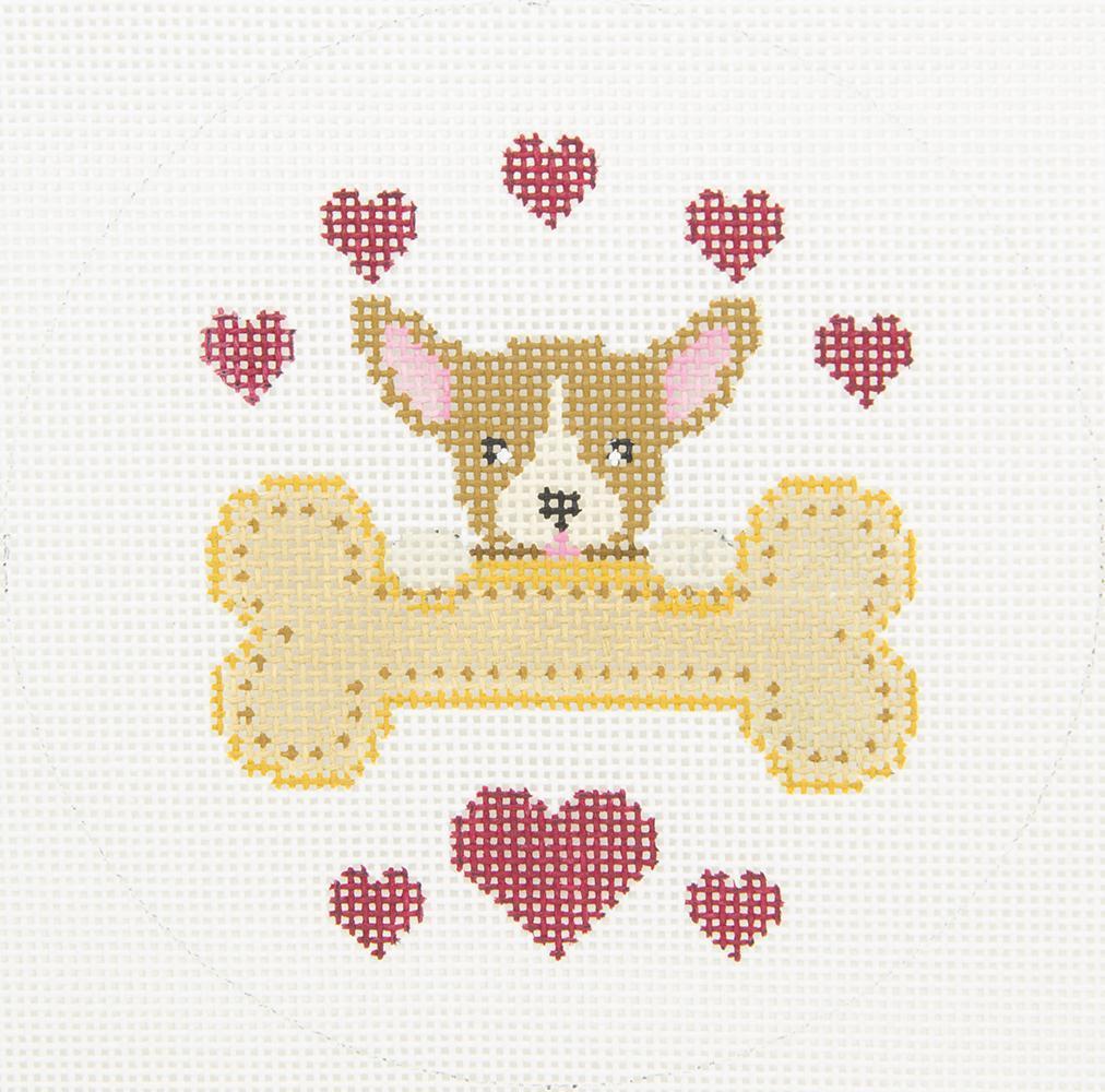 X331 Corgi Rescue Dog Bone JP Needlepoint
