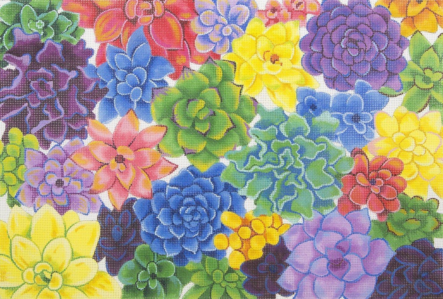 V171 Colorful Succulents JP Needlepoint