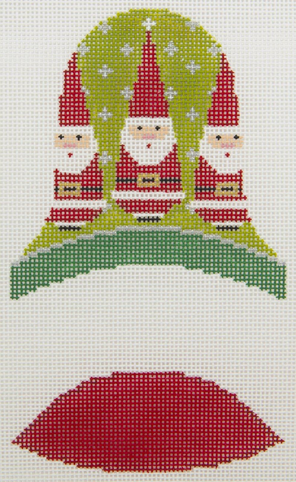 LL421L Bell 3D Ornament Three Santas Labors of Love