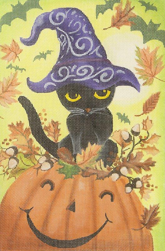 GA02LYM Halloween Cat with Witch Hat on Pumpkin Love You More