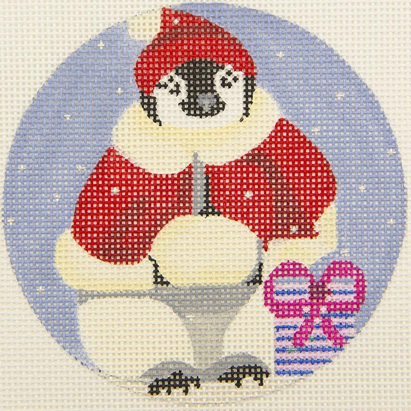 H235 Penguin Santa Coat Ornament 'Melissa Prince