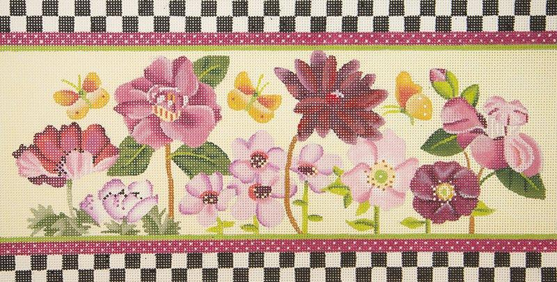 DM1543 Flowers with Check Border