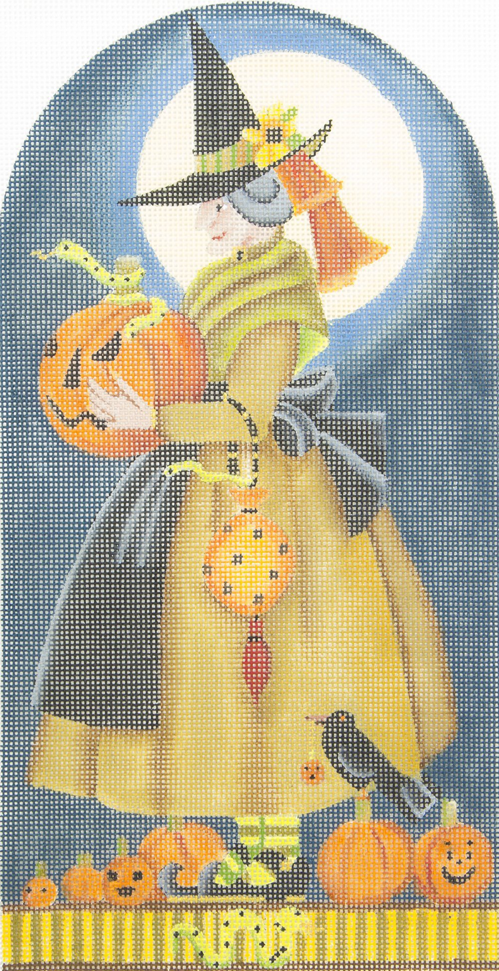 MS1490E Witch with Pumpin Snakes and Crow Melissa Shirley Desigs