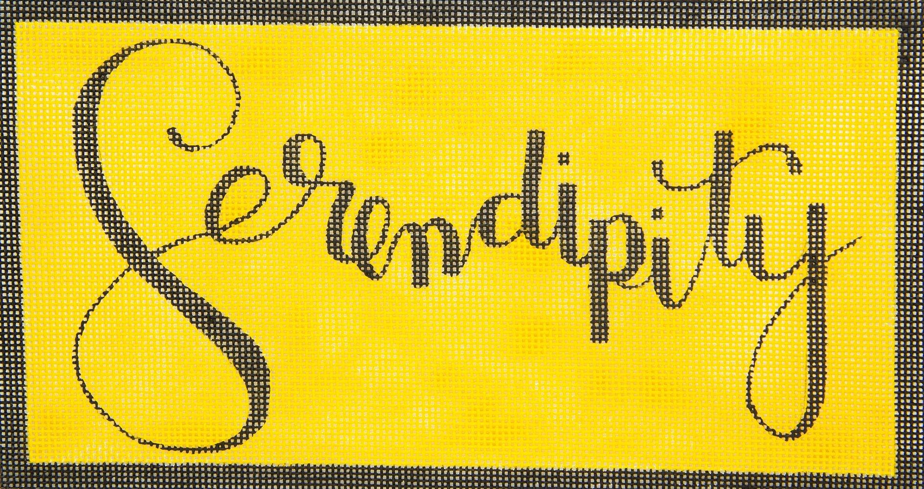 Serendipity on Yellow Oasis Needlepoint