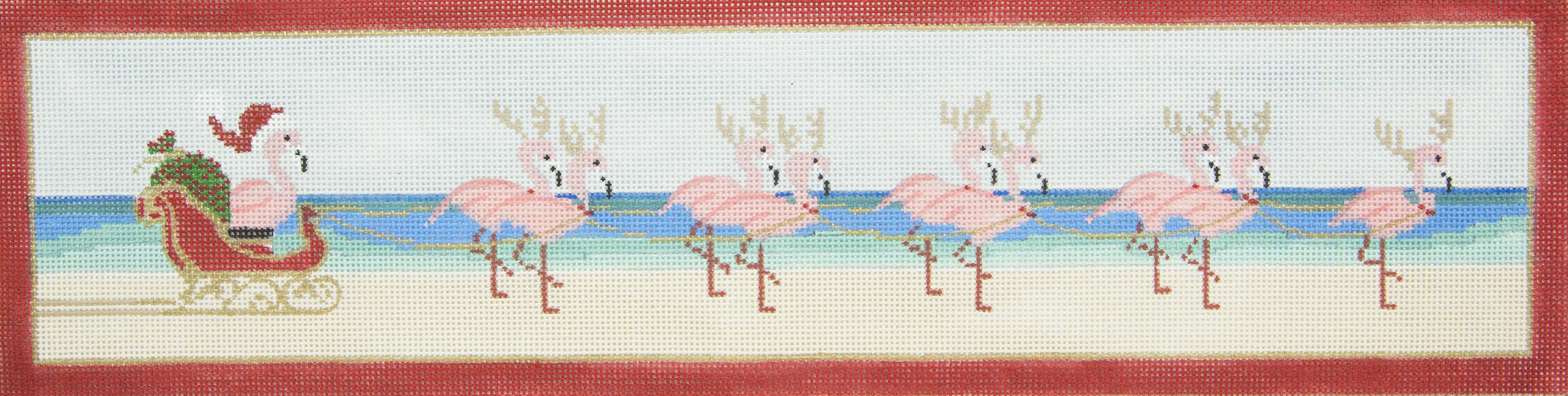 PP4404 Tropical Christmas Sled Flamingos Purple Palm