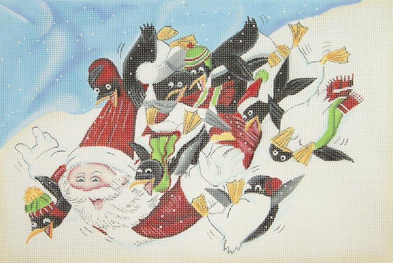 BG18T Santa and Penguins on Sled