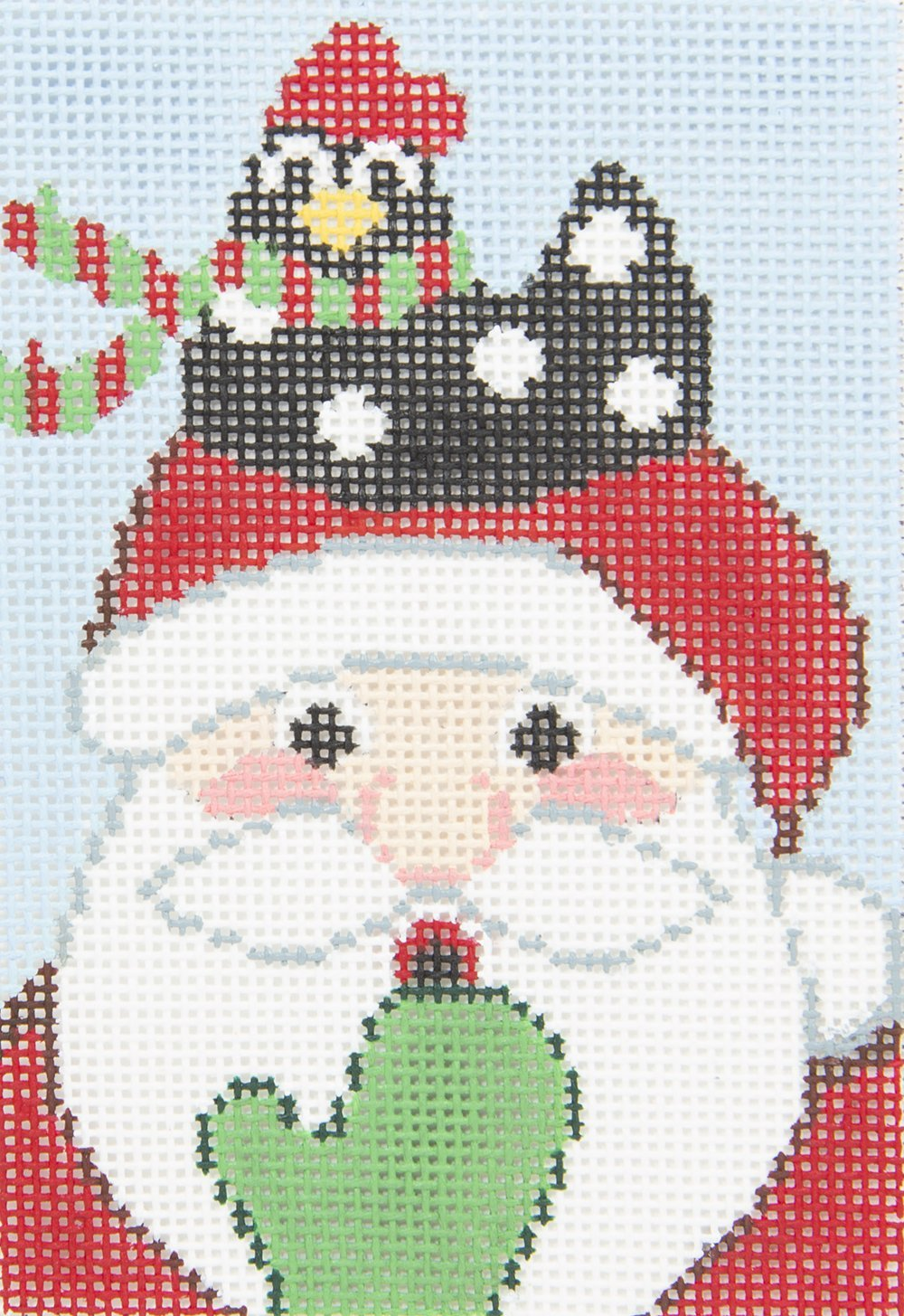 AL0170 Merry Cluck Santa with Chicken Wellesley Needlepoint Designs