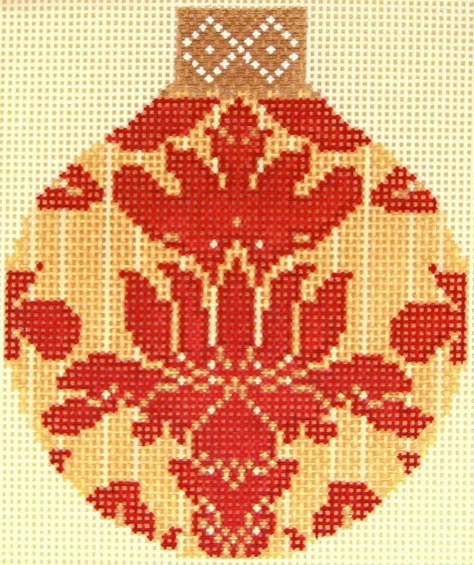 WG12880 Red/Gold Damask Rd Orn