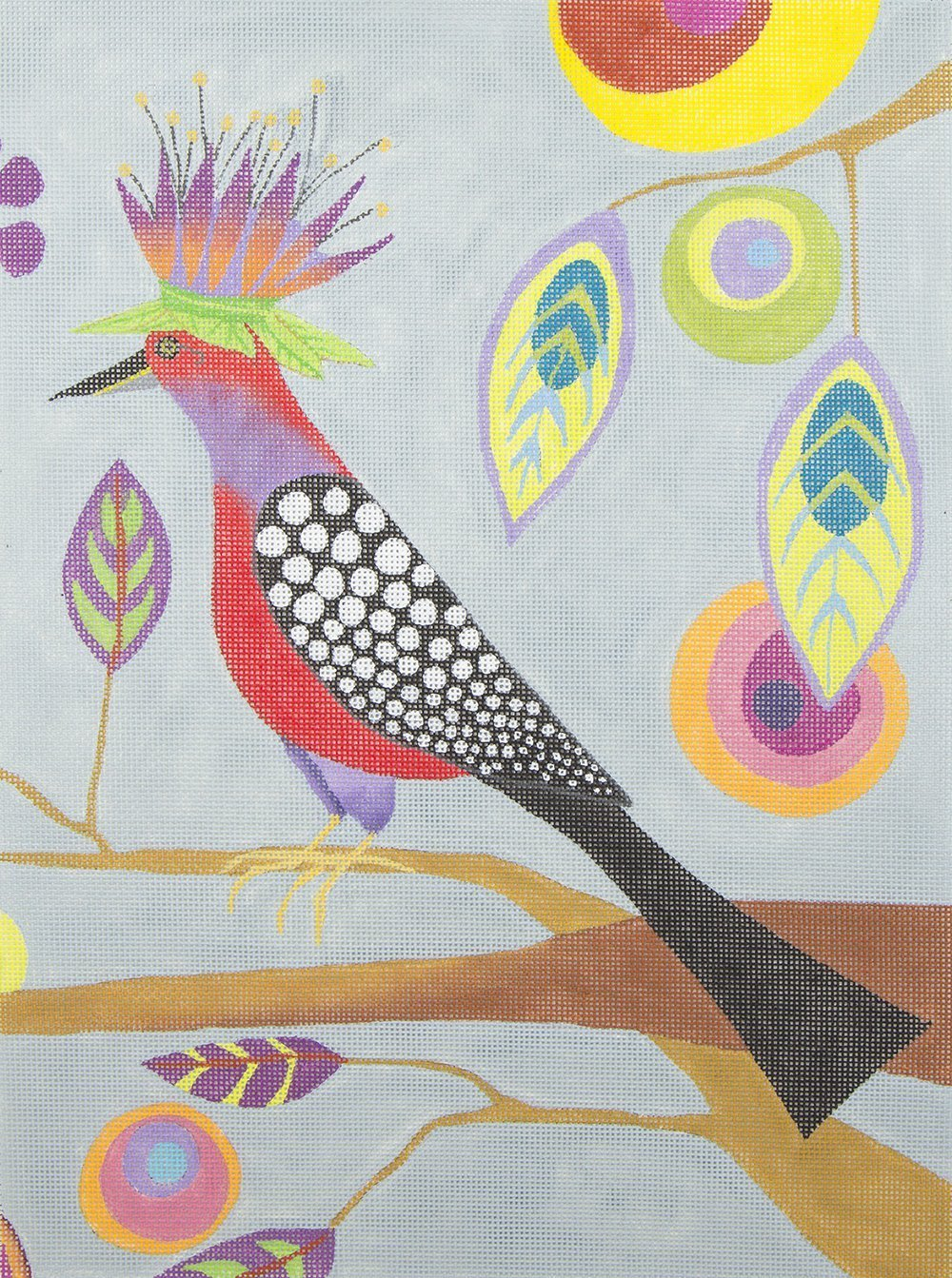 ZE344C Colorful Bird and Abstract Leaves Zecca