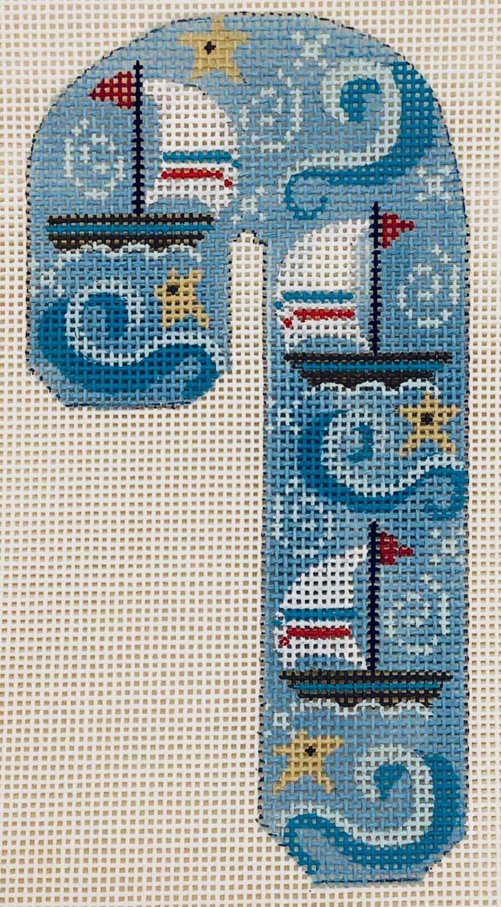 CH506 Sailing Candy Cane Ornament Danji Designs