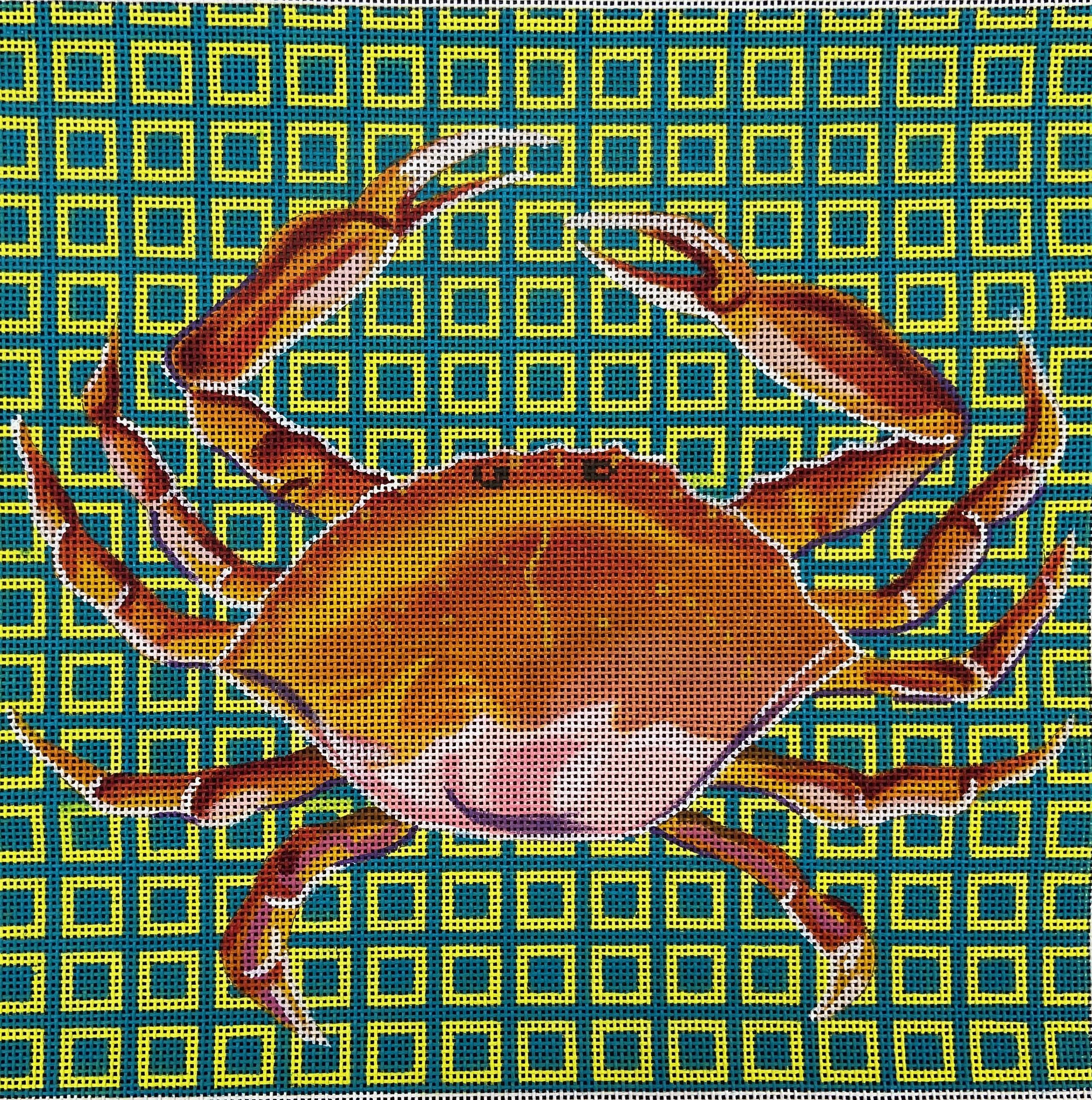 AN189 Red Crab on Turquoise Greek Key Colors of Praise