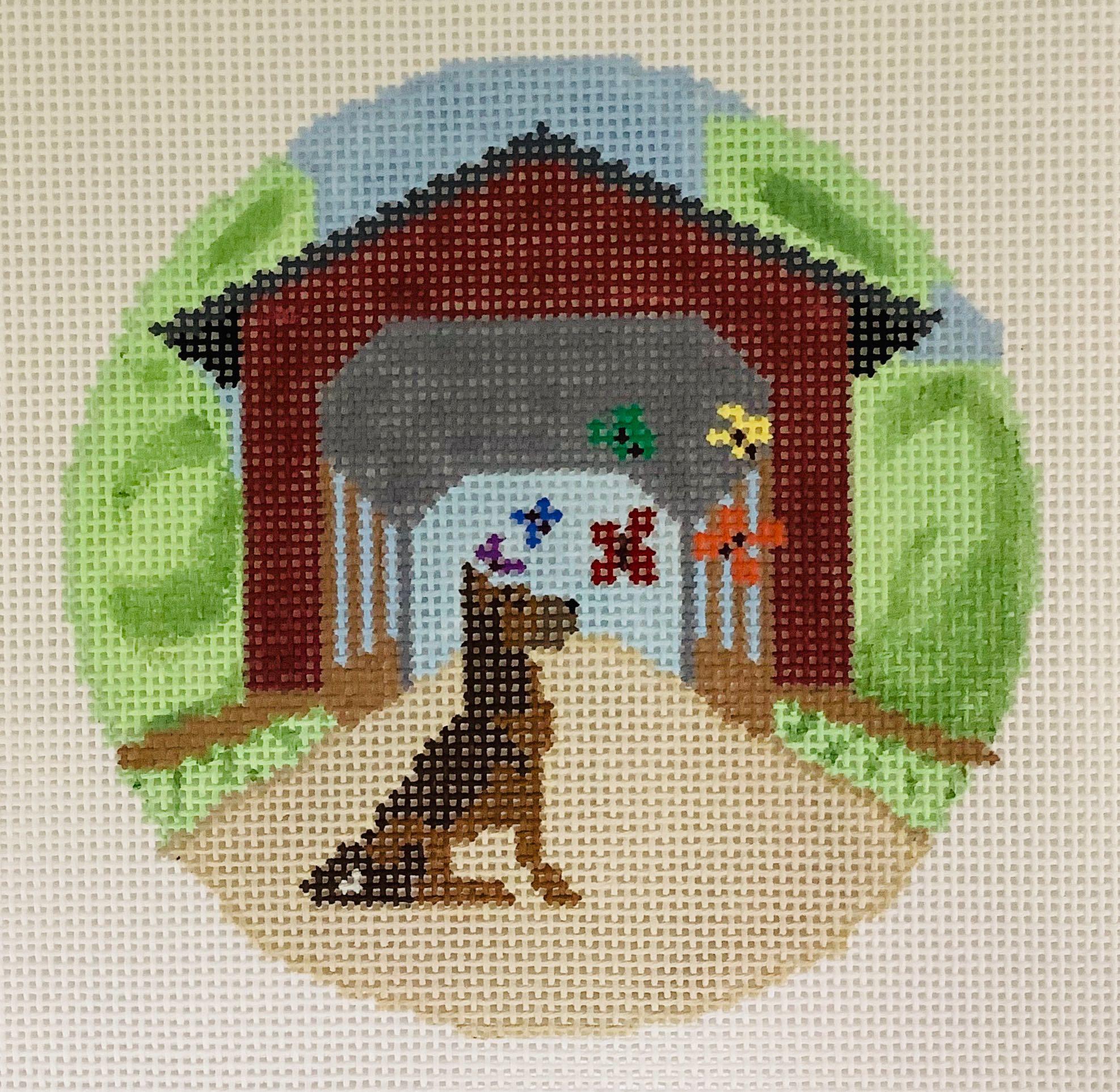 T4 Rainbow Bridge Shepherd Dog Ornament Blue Ridge Stitchery