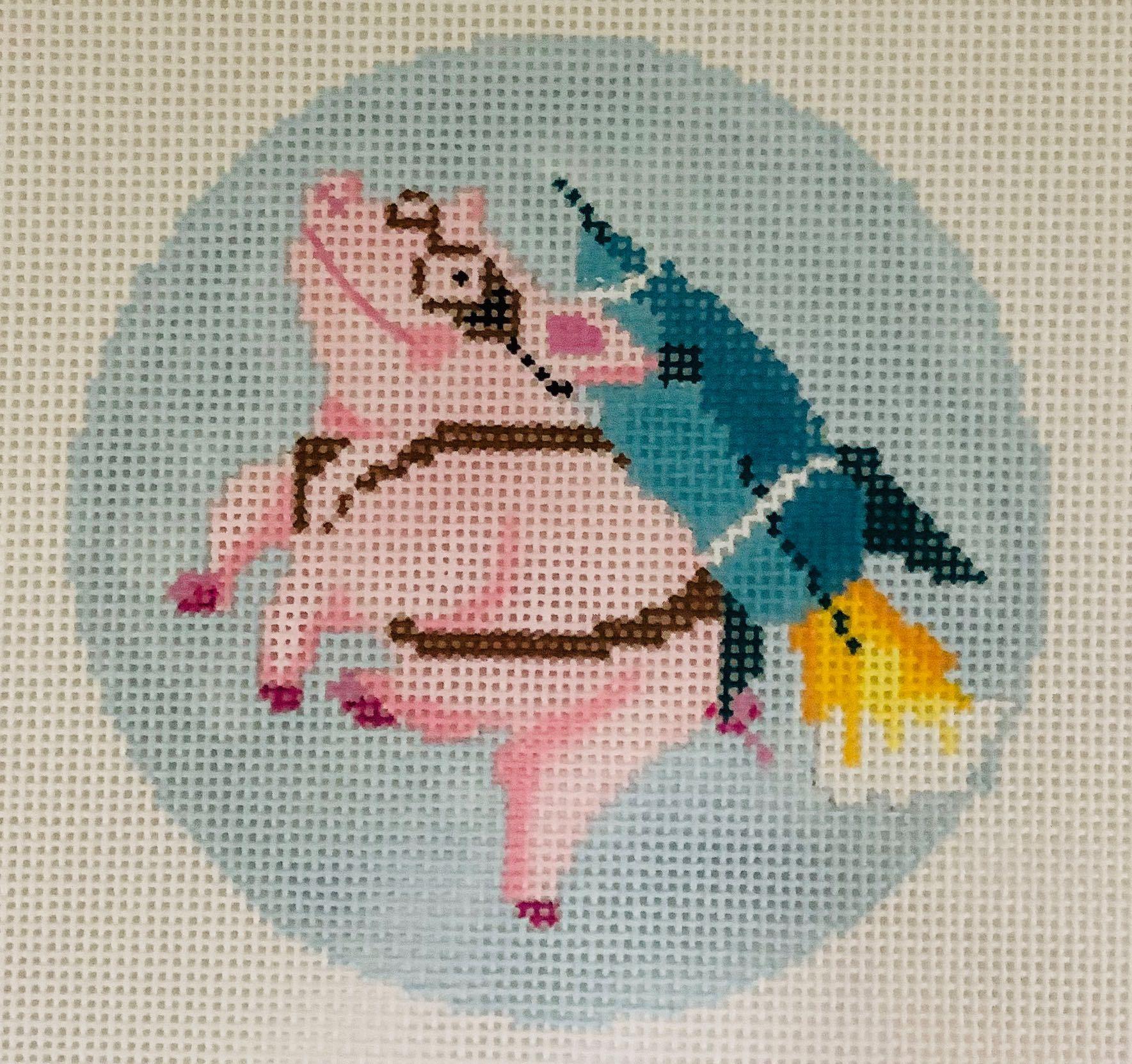 R13 Rocket Pig Ornament Blue Ridge Stitchery