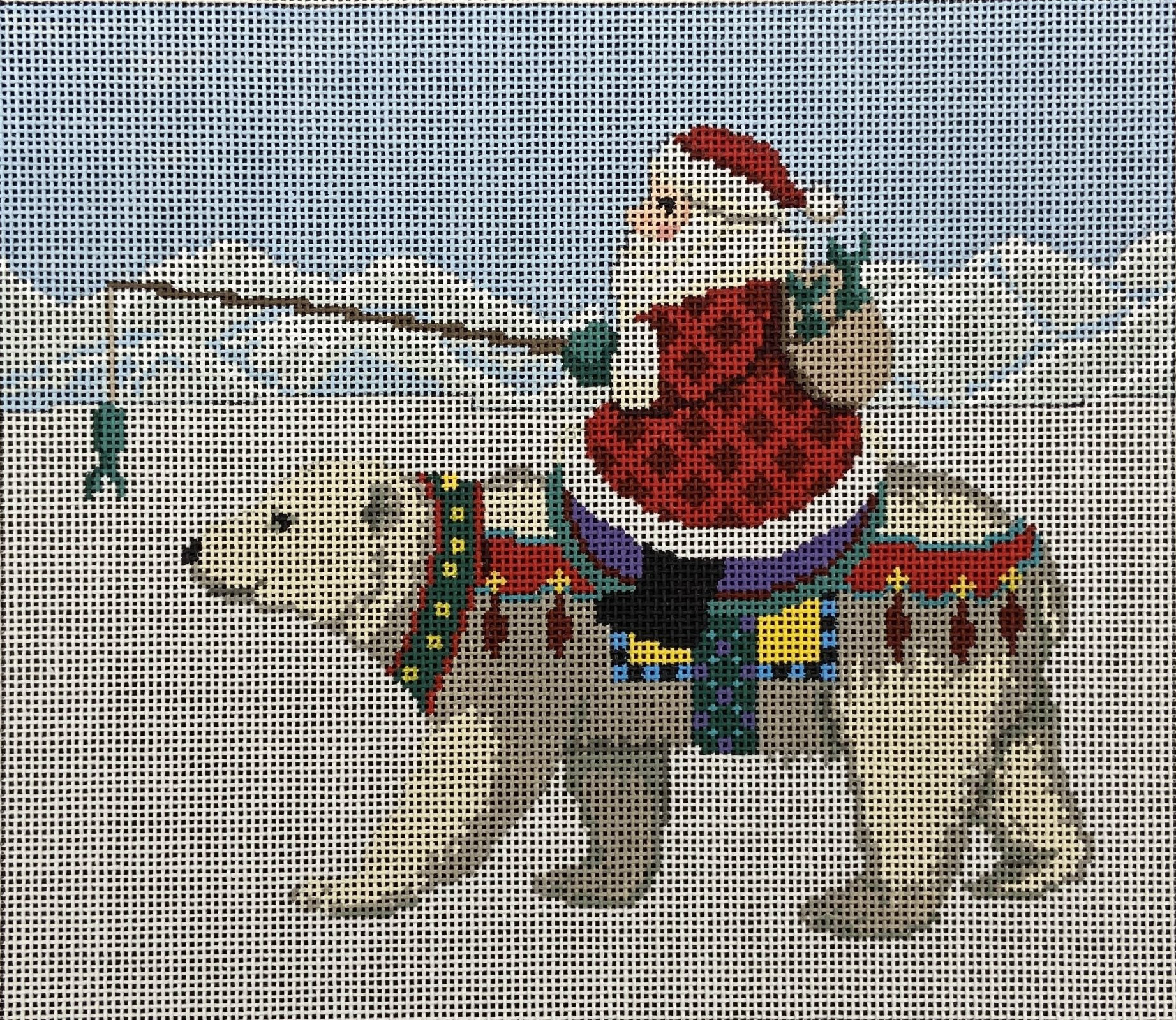 SR72B Santa Riding on Polar Bear with Fish Treat Susan Roberts