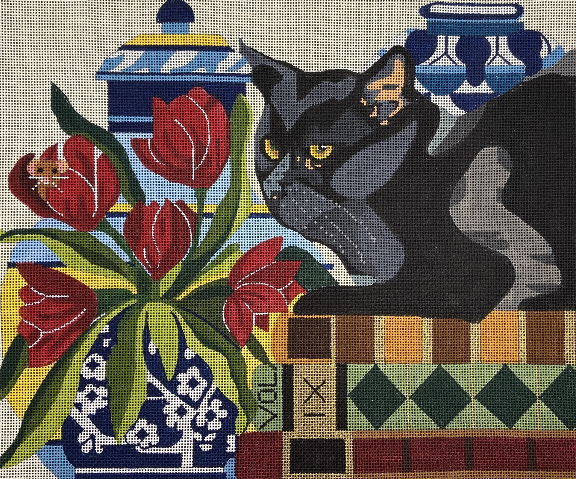 MPC01 Black Cat with Tulips and Books Melissa Prince
