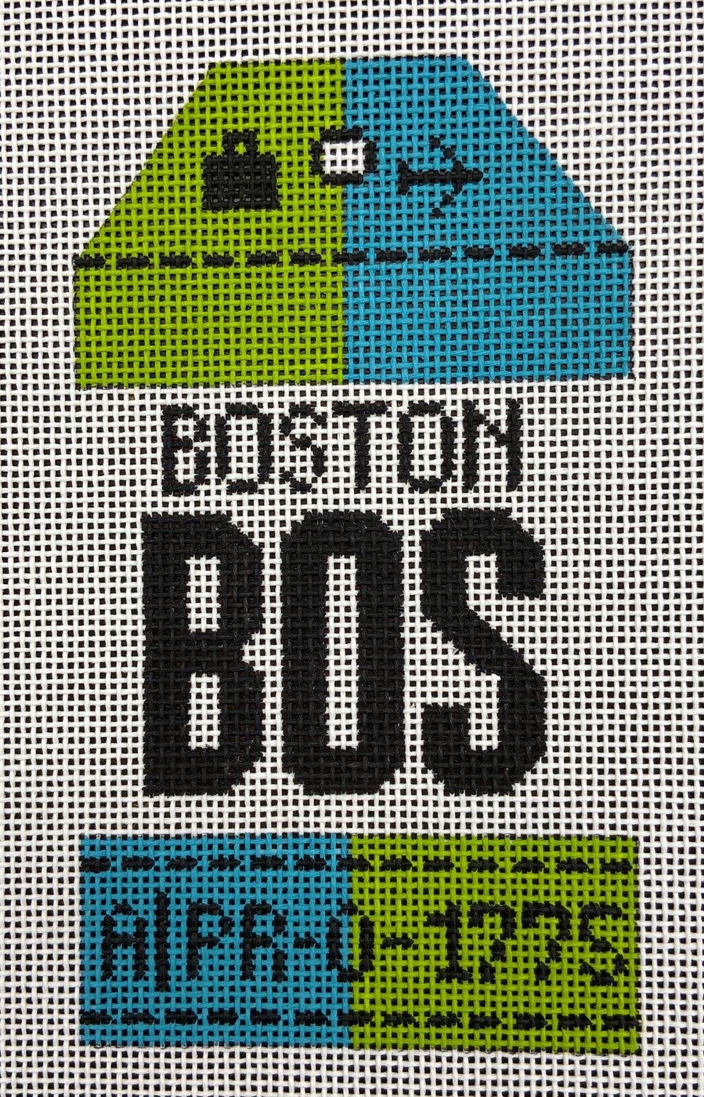 Retro Travel Tag Boston Hedgehog Needlepoint