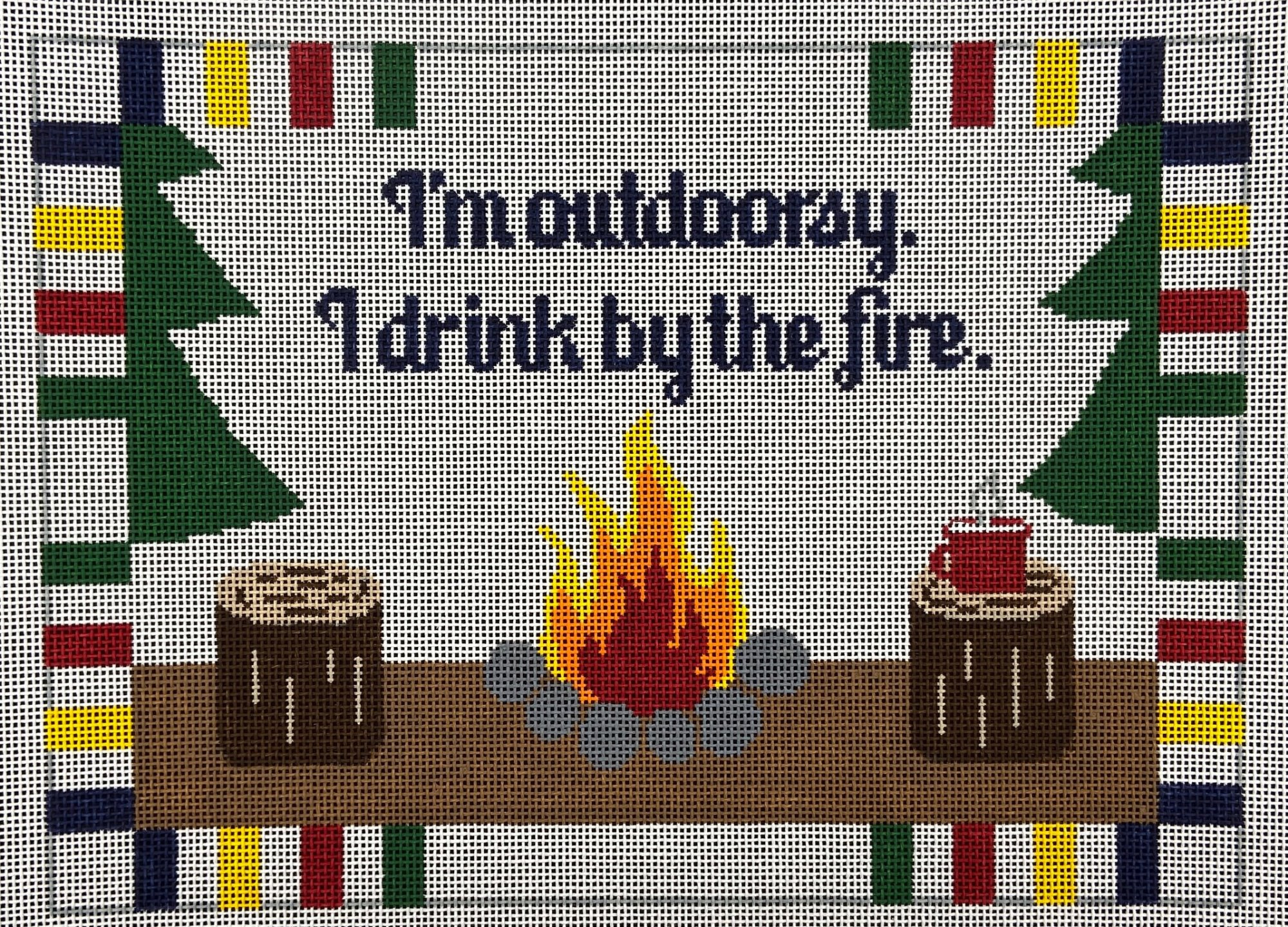 RD285 I'm Outdoorsy / Fire Rachel Donely Needlepoint Designs