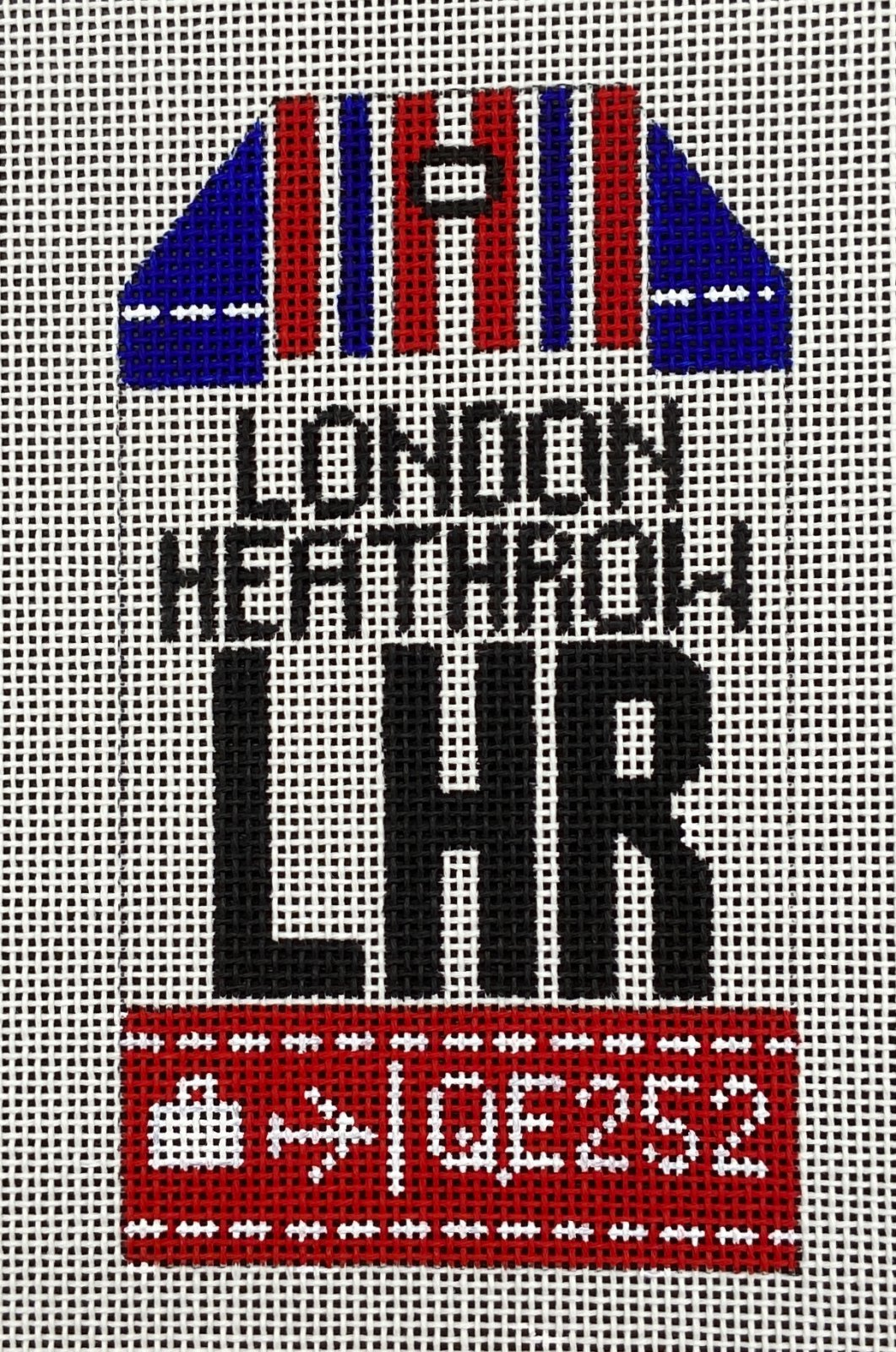 Retro Travel Tag London Heathrow Hedgehog Needlepoint