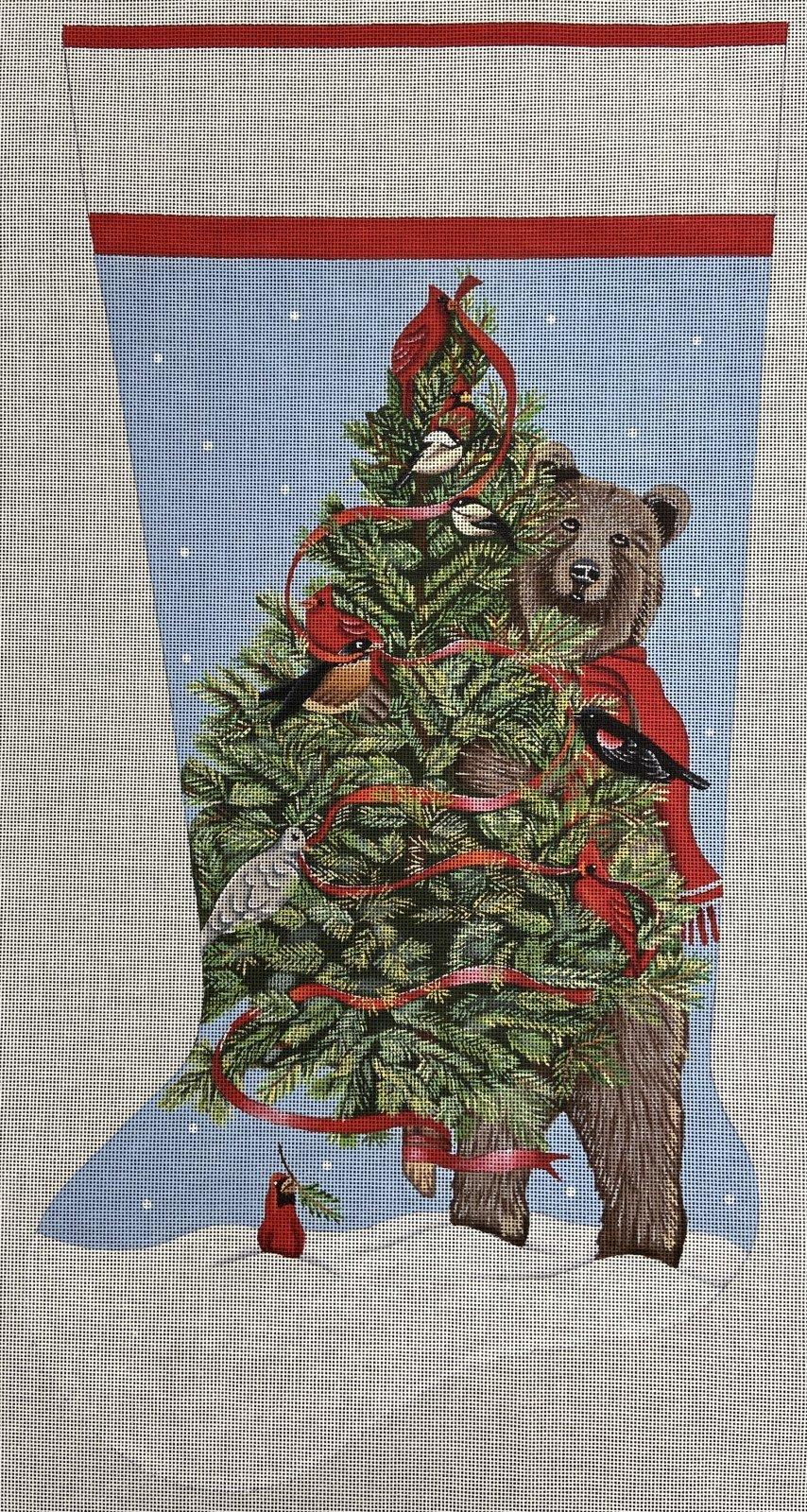 MLT421 Big Brown Bear Hold Christmas Tree Full of Cardinals Stocking  Melissa Shirley