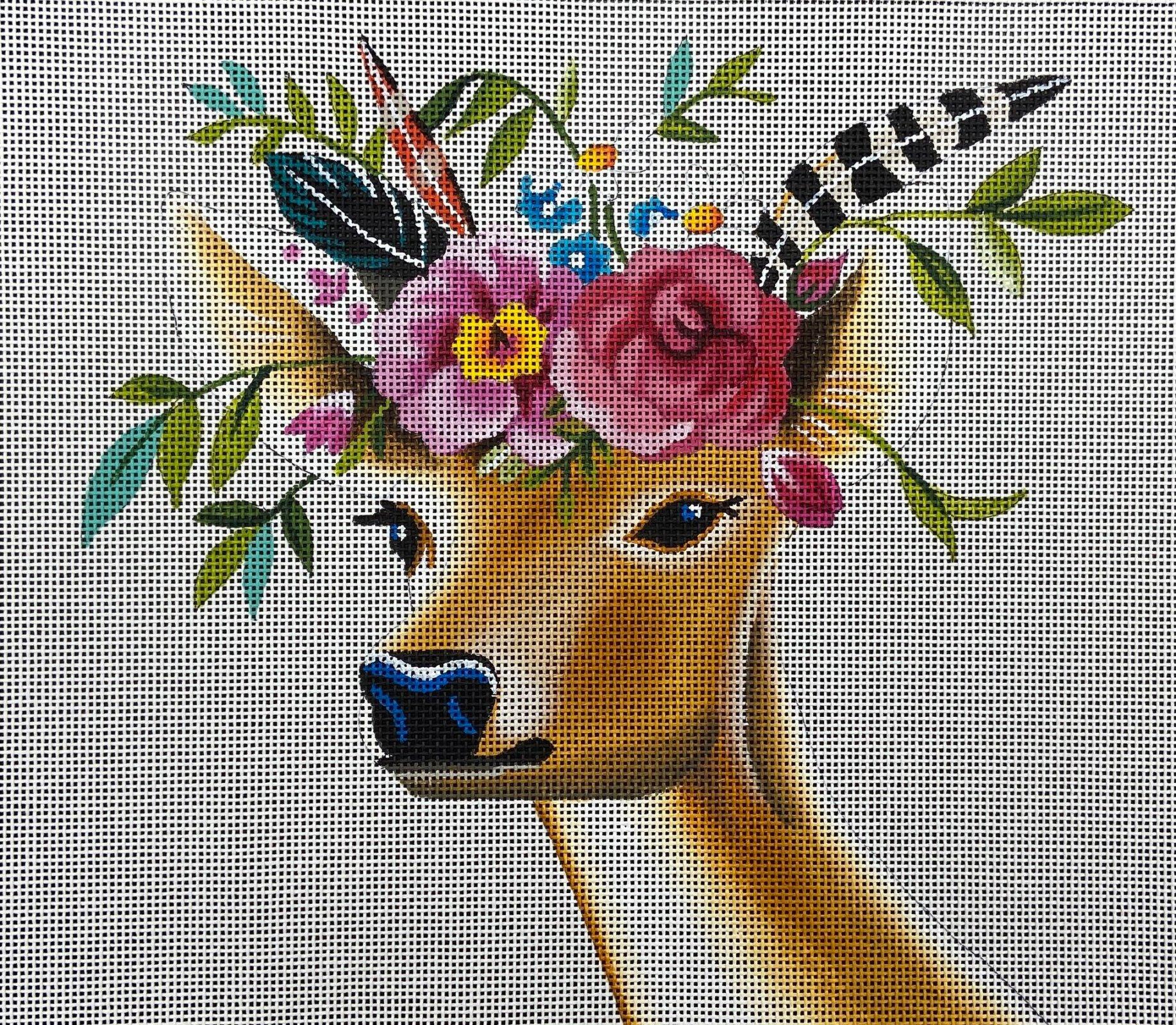 AN407 Deer Wearing Floral Wreath Colors of Praise