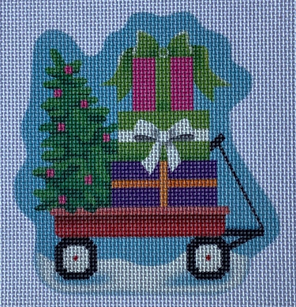 PDCHR05 Lil' Red Wagon Christmas Ornament Pepperberry Designs