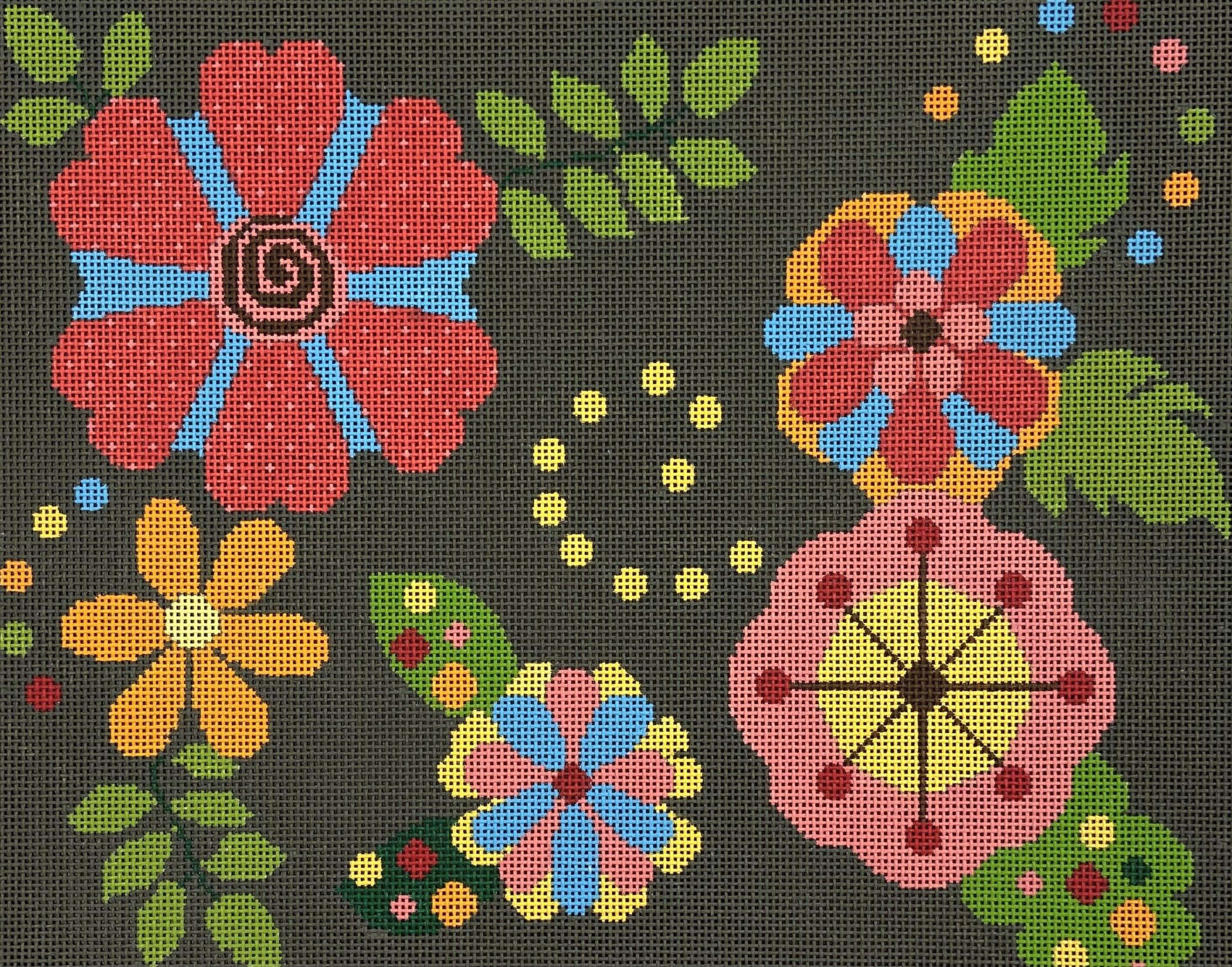 ND223 Bright Flowers on Olive Background Chris Lewis Distributing