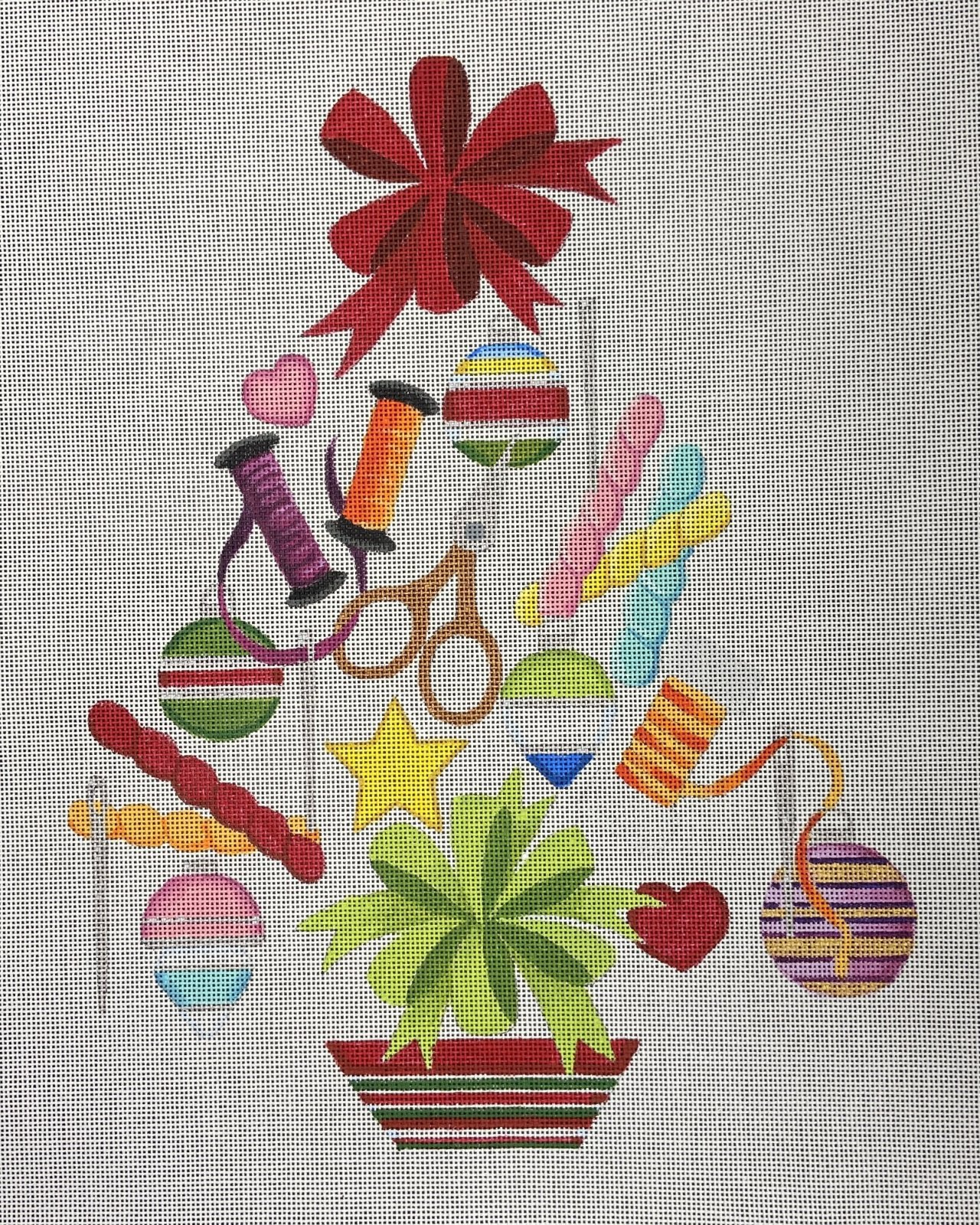 HO1345 Christmas Tree with Stitching Tools and Threads Raymond Crawford