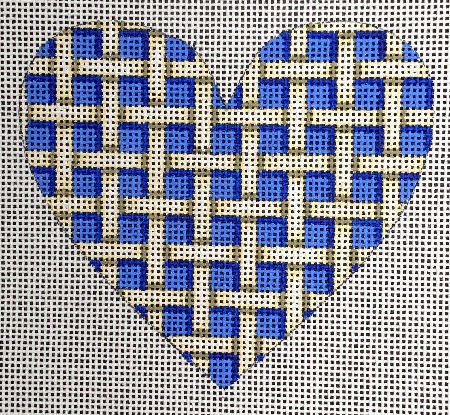 AWP413B Woven Blue and White Heart Ornament Ann Wheat Pace