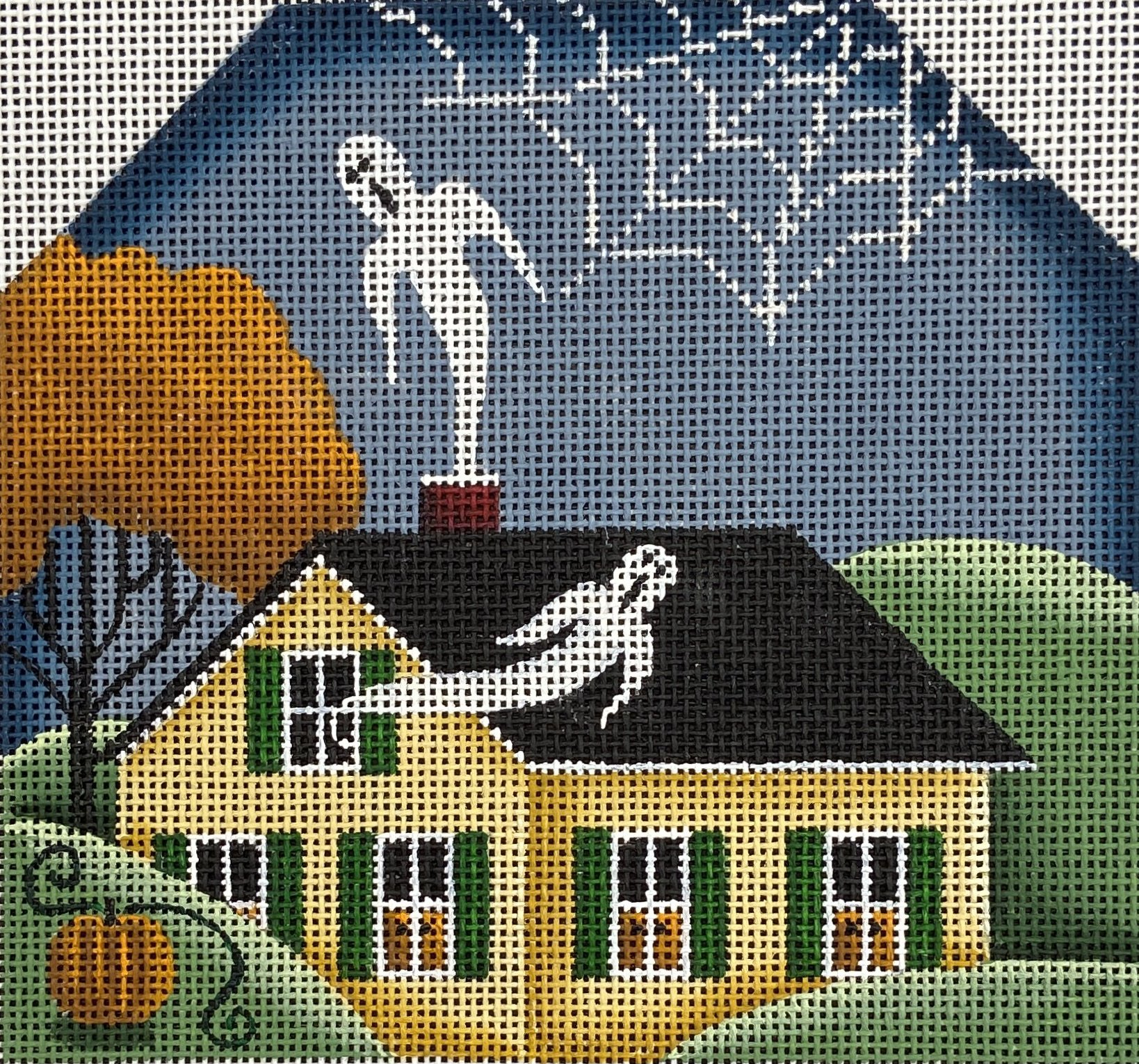 RB743E Haunted Yellow Halloween Houses Ghosts Rebecca Wood