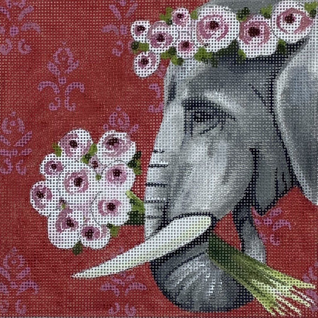 COPIN264 Elephant with Wreath Holding Flowers Insert Colors of Praise