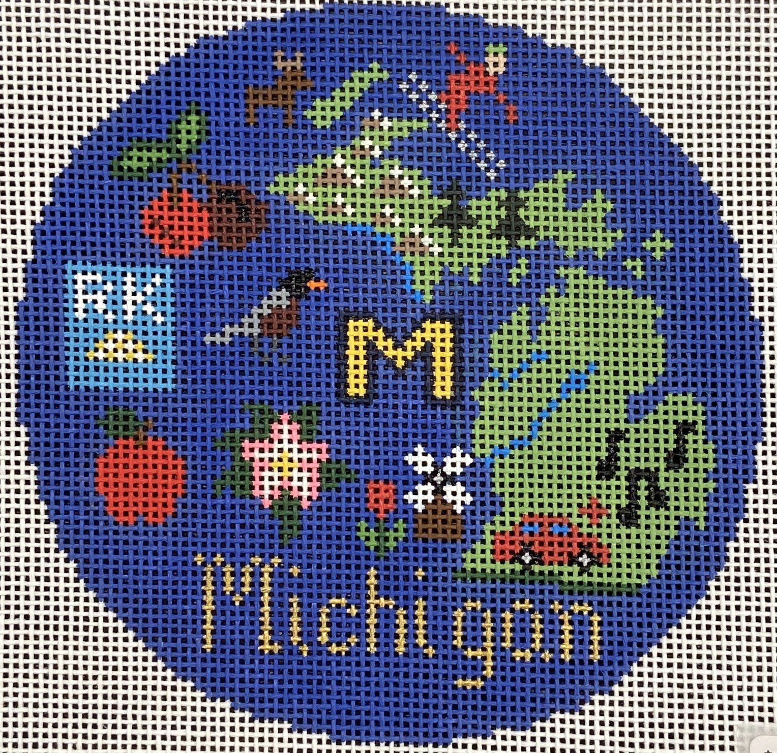 SN705 Michigan Ornament Round Silver Needle