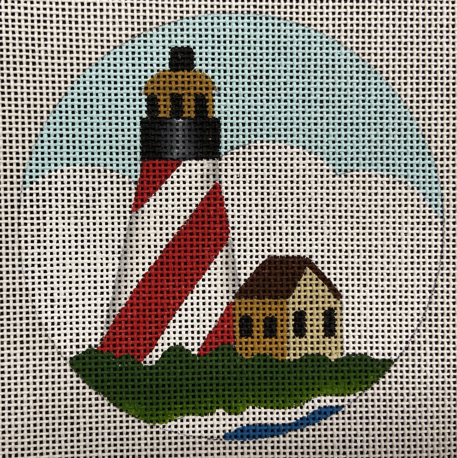 MS1698E Red/White Striped Lighthouse Melissa Shirley Designs