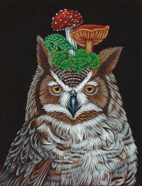 VS340 Great Horned Owl with Mushrooms Melissa Shirley