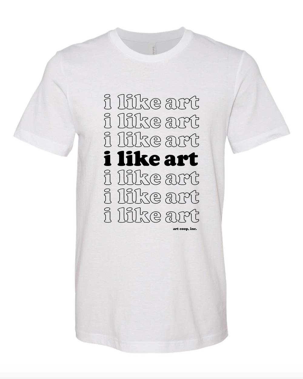 i like art, white tee