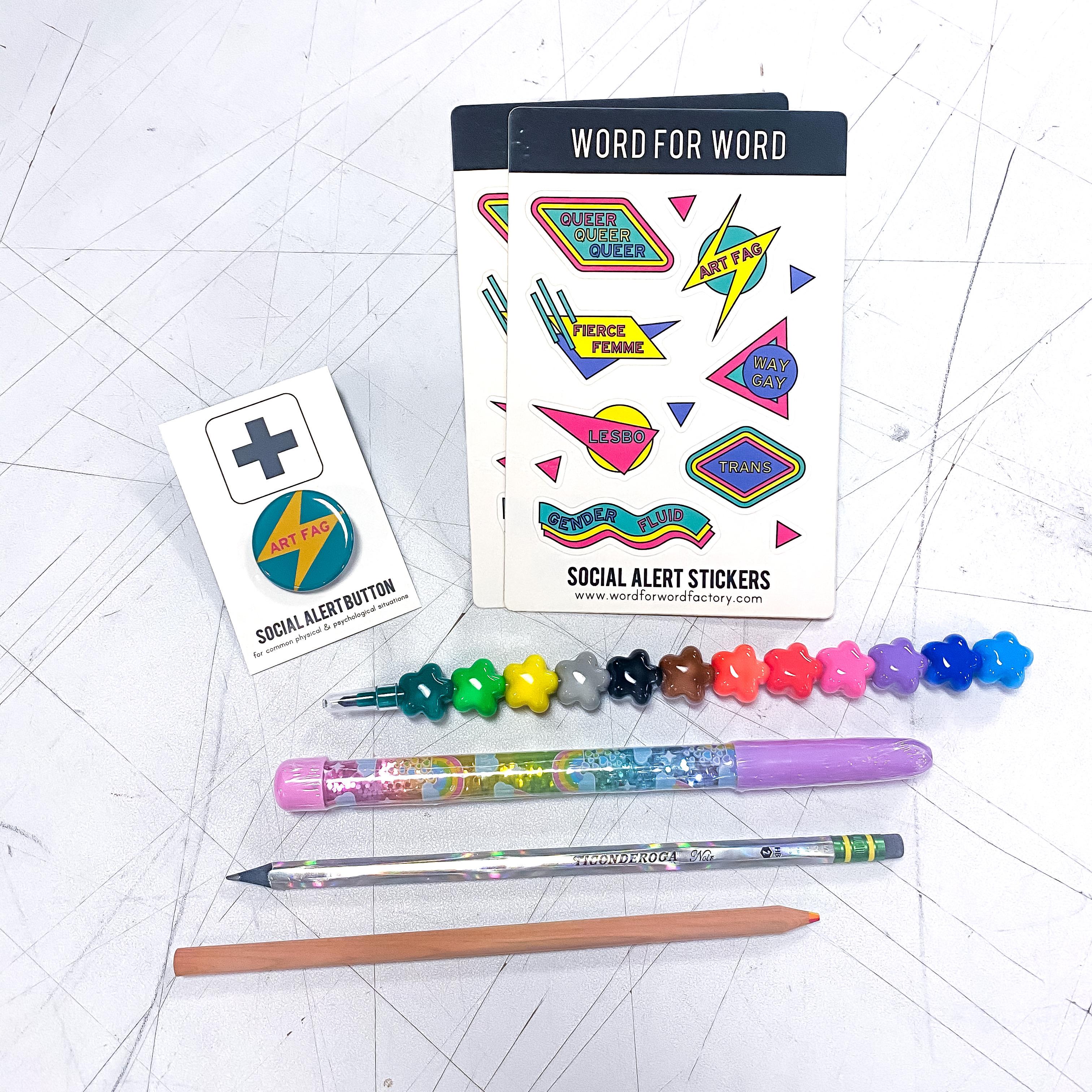 Stickers Pins & Pens Pride Kit!